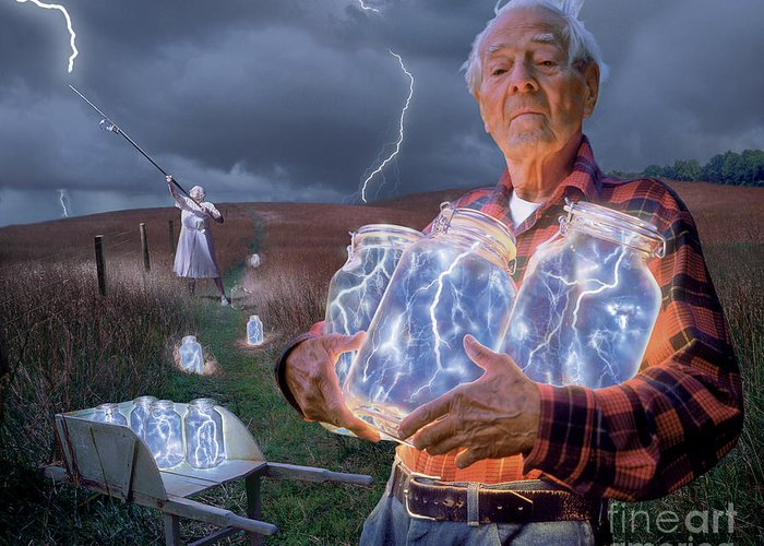 Lightning Greeting Card featuring the photograph The Lightning Catchers by Bryan Allen