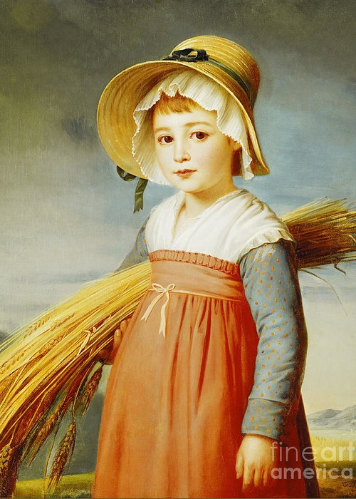 Girl Greeting Card featuring the painting The Little Gleaner by Christophe Thomas Degeorge