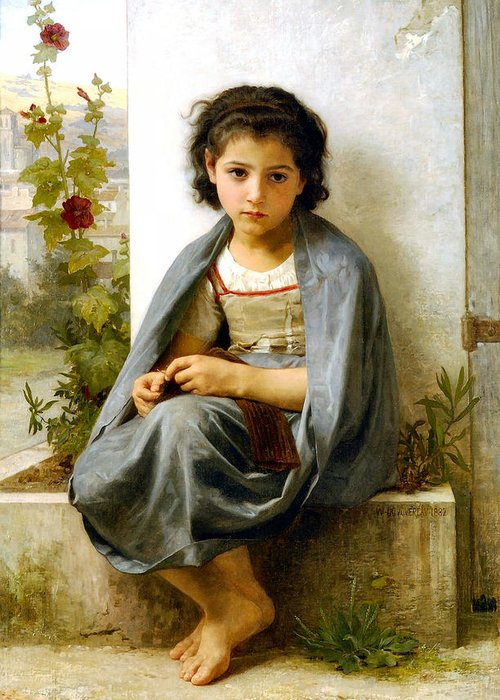 The Spinner Greeting Card featuring the digital art The Little Knitter by William Bouguereau