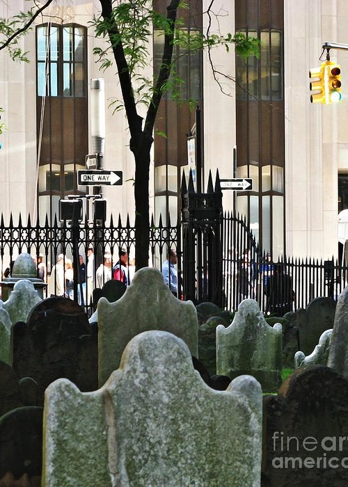 Manhattan Greeting Card featuring the photograph The Living And The Dead by Sarah Loft