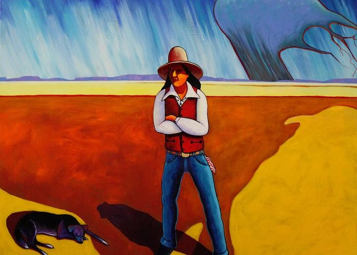 Native American Greeting Card featuring the painting The Logic Of Solitude by Joe Triano
