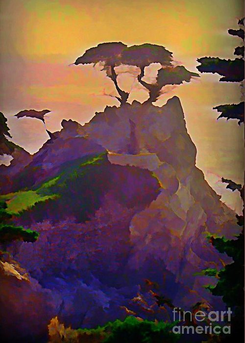 The Lone Cypress Greeting Card featuring the painting The Lone Cypress by John Malone
