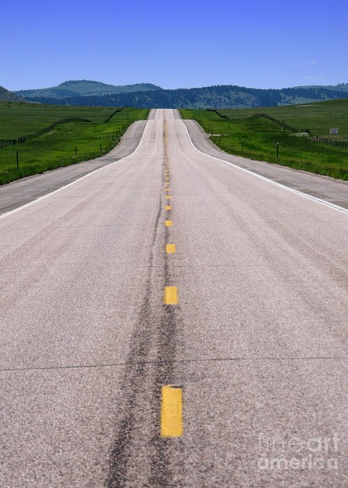 Road Greeting Card featuring the photograph The Long Road Ahead by Olivier Le Queinec
