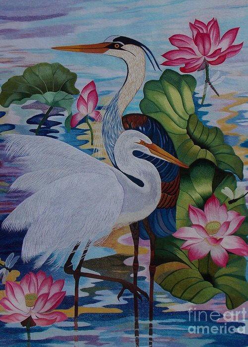 Lotus Greeting Card featuring the tapestry - textile The Lotus Pond Hand Embroidery by To-Tam Gerwe