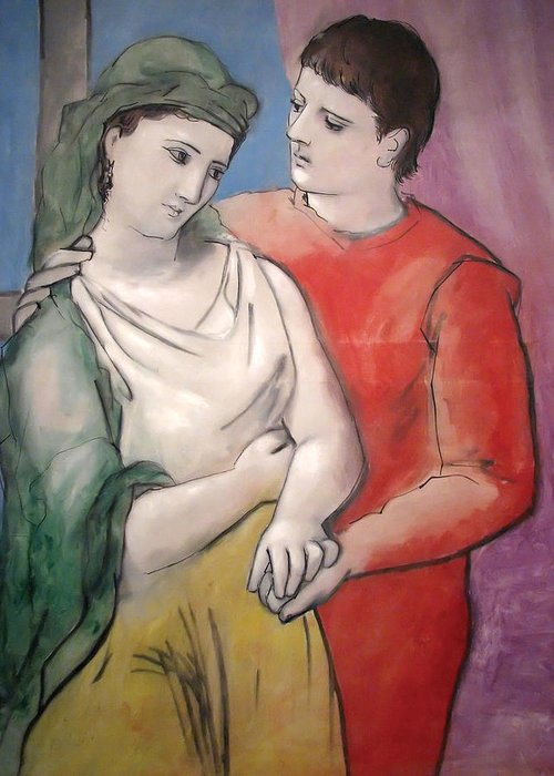 Pablo Picasso Greeting Card featuring the painting The Lovers by Pablo Picasso