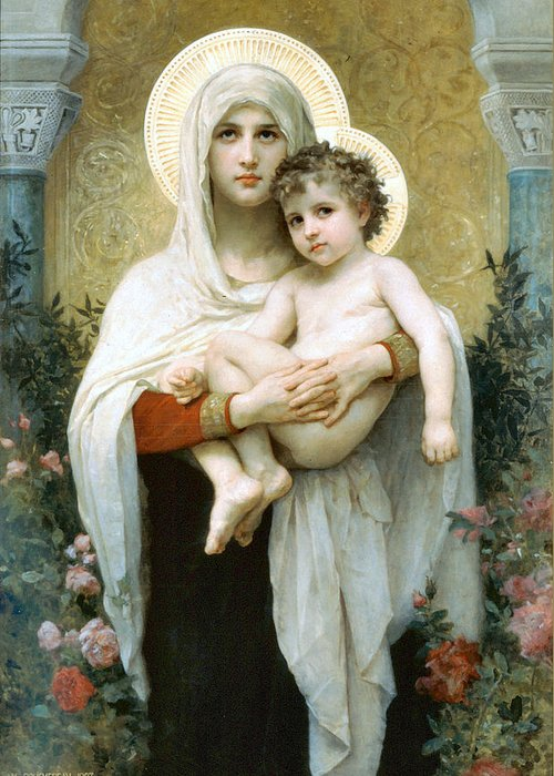 The Madonna Of The Roses Greeting Card featuring the digital art The Madonna Of The Roses by William Bouguereau