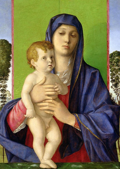 Renaissance Greeting Card featuring the painting The Madonna Of The Trees by Giovanni Bellini