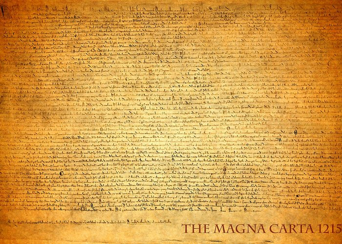 Magna Carta Greeting Card featuring the mixed media The Magna Carta 1215 by Design Turnpike
