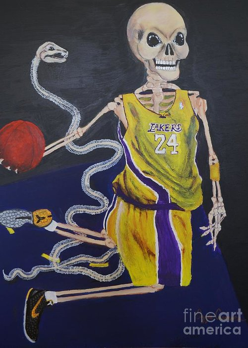 Day Of The Dead Greeting Card featuring the painting The Mamba Strikes by Visual Renegade Art
