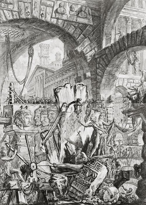 Italian; Architecture; Interior; Vaulting; Stairs; Bridges; Balcony; Neo-classical; Jail;goal; Staircase; Winch; Chain; Capriccio; Prison; Interior; Torture; Torturing; Eerie; Grim; Austere; Incarceration; Imprisoned; Fantasy; Fantastic; Imaginary; Fear; Pain; Jailer; Gaoler; Prisoner; Pulley; Arch; Arches; Punishment; Dungeon; Figures; Criminal; Cruelty; Gruesome; Human Rights; Pain; Agony Greeting Card featuring the drawing The Man On The Rack Plate II From Carceri D'invenzione by Giovanni Battista Piranesi