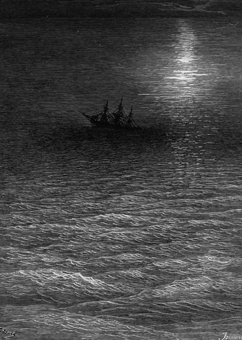 Calm; Moon; Moonlight; Vessel; Becalmed; Dore Greeting Card featuring the drawing The Marooned Ship In A Moonlit Sea by Gustave Dore