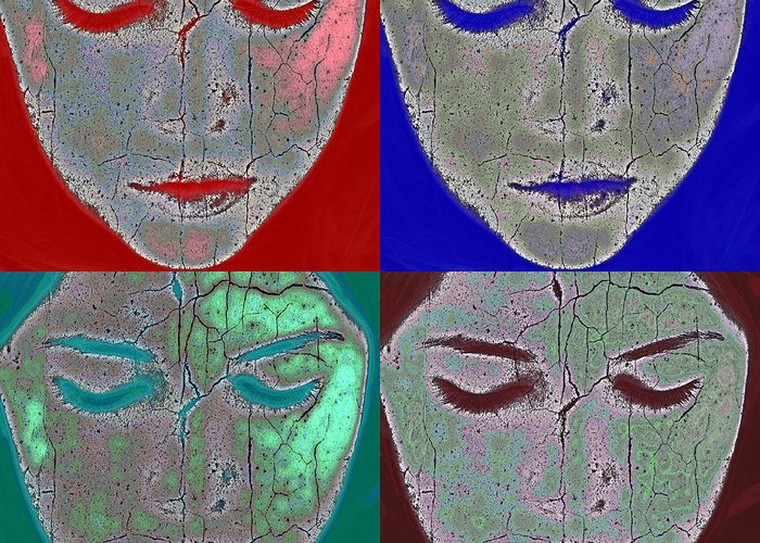 Abstract Greeting Card featuring the photograph The Mask by Stelios Kleanthous
