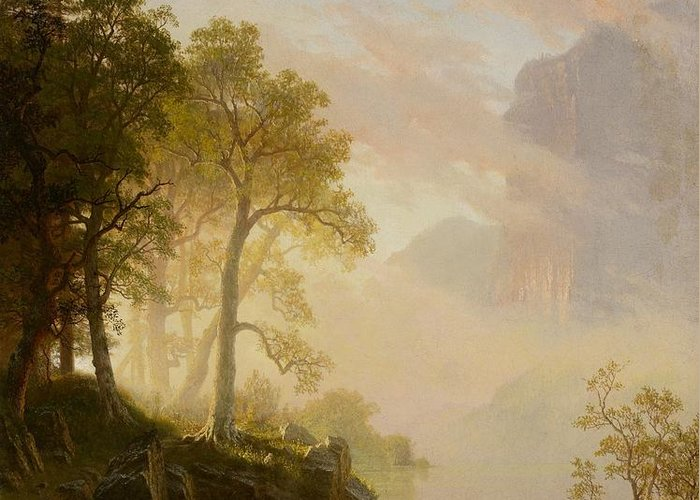 The Greeting Card featuring the painting The Merced River In Yosemite by Albert Bierstadt
