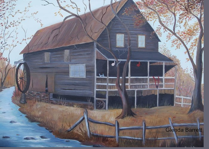 Original Greeting Card featuring the painting The Mill by Glenda Barrett