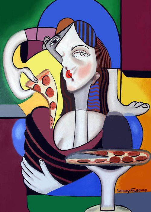 Mona Pizza Greeting Card featuring the painting The Mona Pizza by Anthony Falbo
