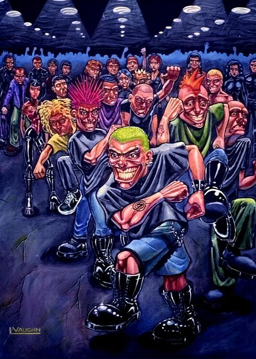 Acrylic Greeting Card featuring the painting The Mosh Pit by Lance Vaughn