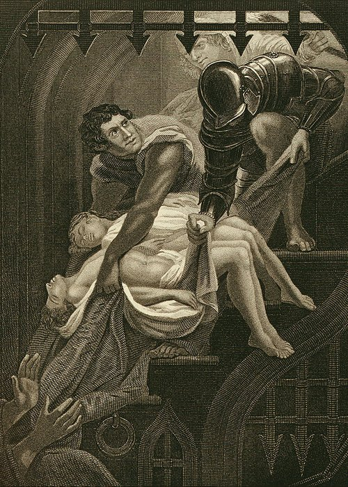 Male Greeting Card featuring the drawing The Murder Of The Two Princes by James Northcote