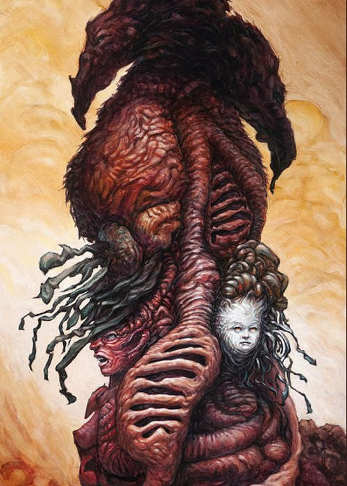 Beast Greeting Card featuring the painting The Mutant Bloom Version 2 by Ethan Harris
