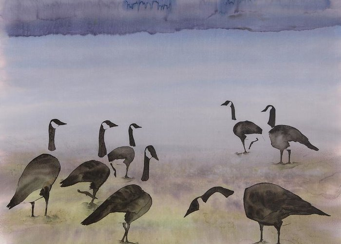 Geese Greeting Card featuring the tapestry - textile The Mysteries Of Miration 2 by Carolyn Doe
