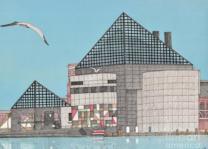 Baltimore Greeting Card featuring the drawing The National Aquarium by Calvert Koerber