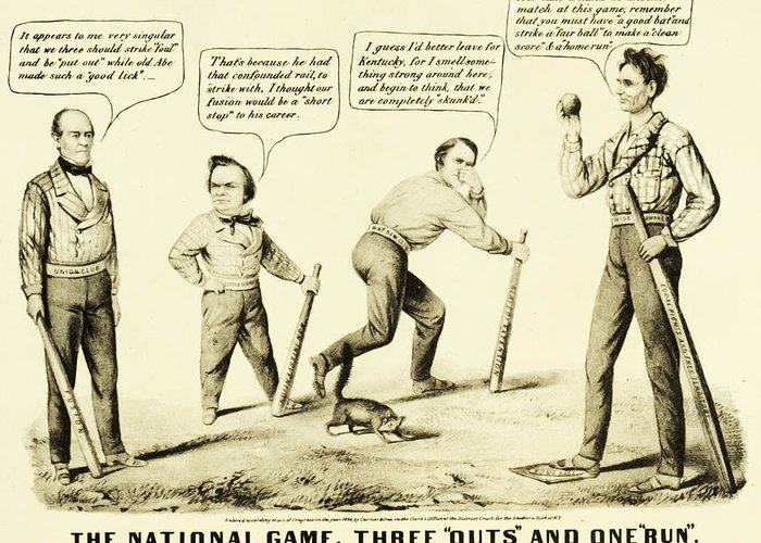 The National Game - Abraham Lincoln Plays Baseball Greeting Card featuring the drawing The National Game - Abraham Lincoln Plays Baseball by Digital Reproductions