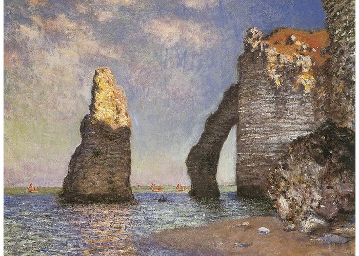 The Needle Etretat Greeting Card featuring the painting The Needle Etretat by Claude Monet