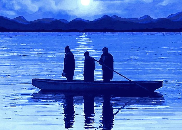Fishing Greeting Card featuring the painting The Night Fishermen by SophiaArt Gallery