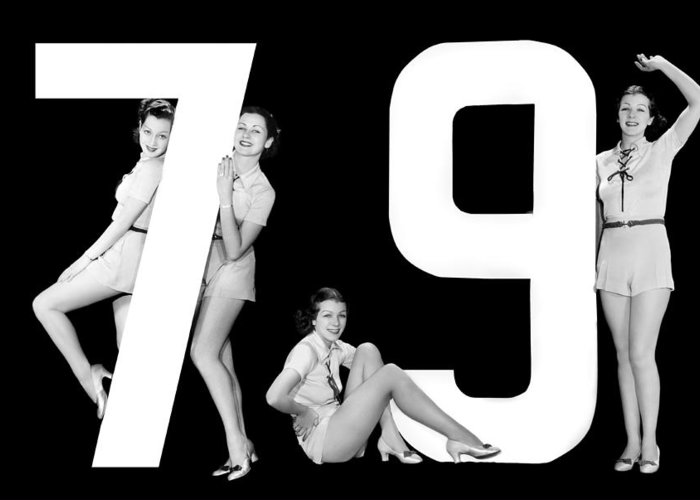 1935 Greeting Card featuring the photograph The Number 79 And Four Women by Underwood Archives