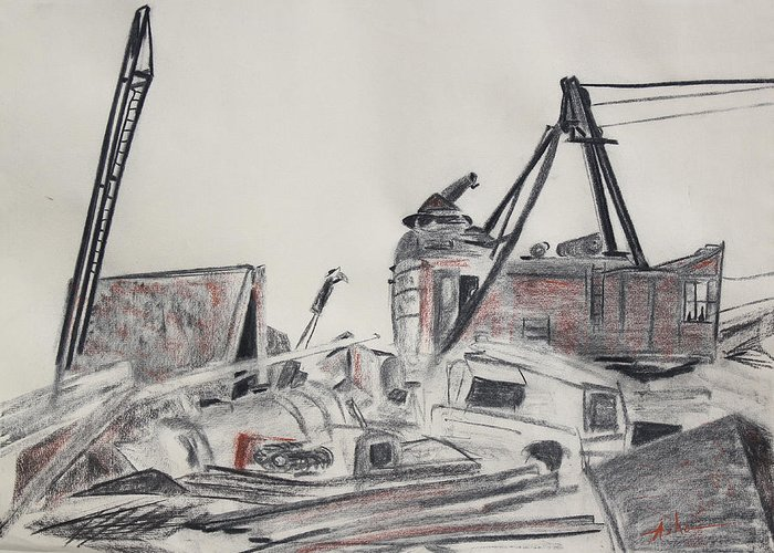 Charcoal Drawing Greeting Card featuring the drawing The Old Berkeley Marina Junk Heap On A Foggy Day by Asha Carolyn Young
