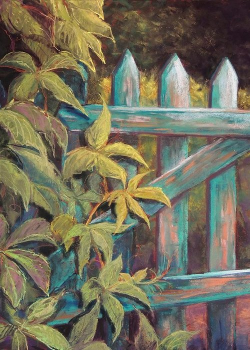 Gate Greeting Card featuring the pastel The Old Gate by Candy Mayer