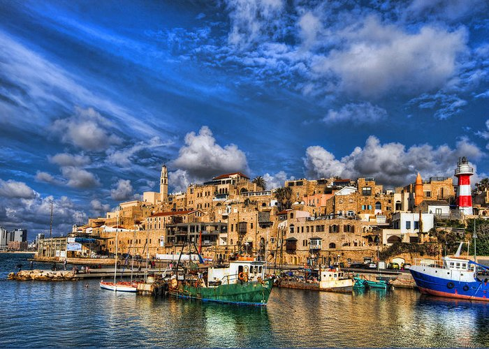 Israel Greeting Card featuring the photograph the old Jaffa port by Ron Shoshani