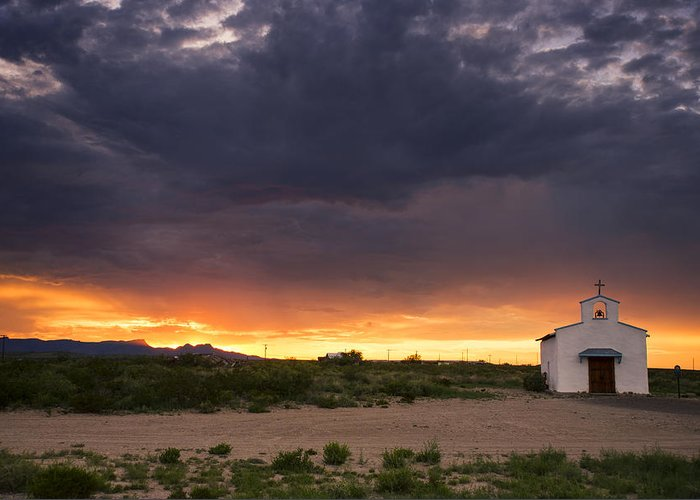 Scenic Greeting Card featuring the photograph The Old Mission Chapel by Aaron S Bedell