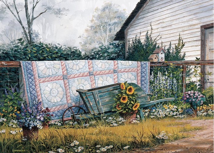 Michael Humphries Greeting Card featuring the painting The Old Quilt by Michael Humphries