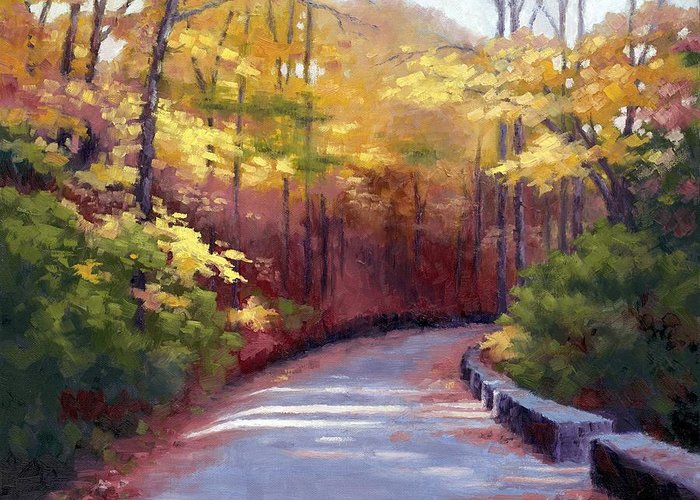 Autumn Paintings Greeting Card featuring the painting The Old Roadway In Autumn II by Janet King
