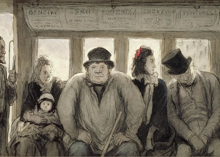 Bus; Passenger; Passengers; Public Transport; Victorian; Daily Life Scene; Travel; Journey; Mother; Baby; Child; Fat; Asleep; Male; Female; Seats; Weary Greeting Card featuring the drawing The Omnibus by Honore Daumier