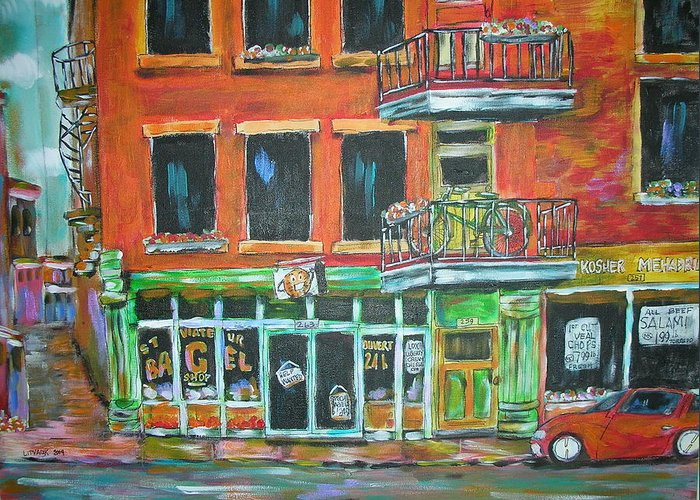 Litvack Greeting Card featuring the painting The Other Bagel Factory by Michael Litvack