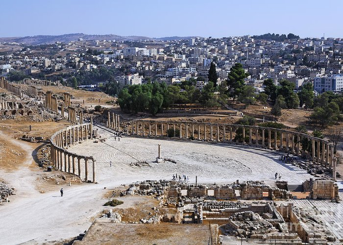 Oval Greeting Card featuring the photograph The Oval Plaza At Jerash In Jordan by Robert Preston
