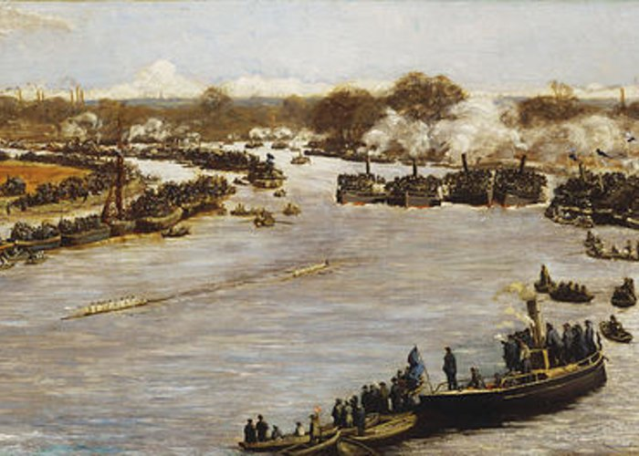 1880; 1880s; 1870s; 1879; 19th Century; 19th Century Painting; Artist British; Artist European; Artwork; Barge; Barges; Boat Race; British Artist; British & Irish Art; British Art; Crowd; Day; Daytime; Elevated; Elevated View; European Artist; Fine Art; Grandstand; Group; Human; Human Role; James Macbeth; Late 19th Century; Late Nineteenth Century; Large Group Of People; Large Group; Leisure & Pastimes; Looking; Macbeth; Meeting; Natural Space; Natural Phenomena; Nineteenth Century; Oil; Greeting Card featuring the painting The Oxford And Cambridge Boat Race by James Macbeth