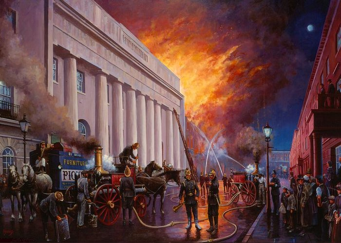 Fire Greeting Card featuring the painting The Pantechnicon Fire. 1874. by Mike Jeffries
