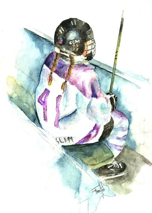Ringette Greeting Card featuring the painting The Penalty Box by Leslie Franklin