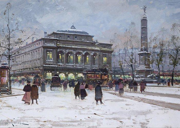 Theatre De La Ville Greeting Card featuring the painting The Place Du Chatelet Paris by Eugene Galien-Laloue