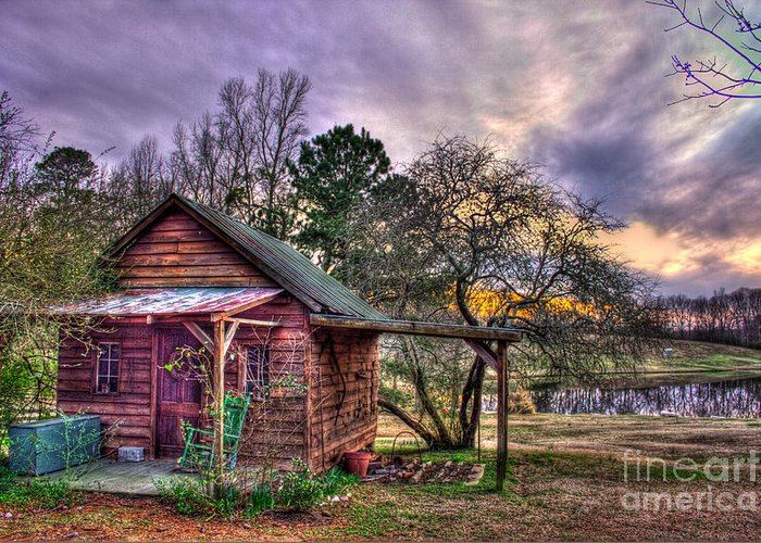 Reid Callaway Greeting Card featuring the photograph The Play House At Sunset Near Lake Oconee. by Reid Callaway