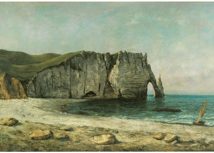 Gustave Courbet Greeting Card featuring the painting The Porte D'aval At Etretat by Gustave Courbet