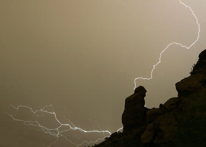 Praying Monk Greeting Card featuring the photograph The Praying Monk Lightning Strike by James BO Insogna