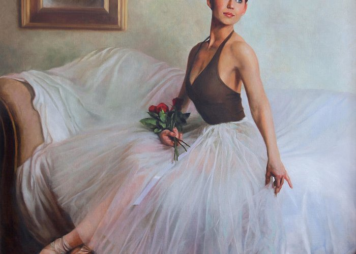 Ballet Greeting Card featuring the painting The Prima Ballerina by Anna Rose Bain
