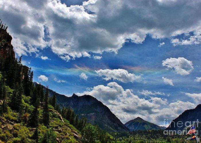 Weather Greeting Card featuring the photograph The Rare Phenomena Rainbows by Janice Rae Pariza