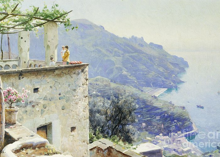 1920s Greeting Card featuring the painting The Ravello Coastline by Peder Monsted