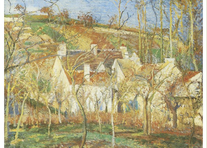 Camille Pissarro Greeting Card featuring the painting The Red Roofs Corner Of A Village Winter by Camille Pissarro