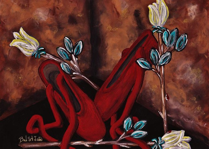 The Red Shoes Greeting Card featuring the painting The Red Shoes by Barbara St Jean