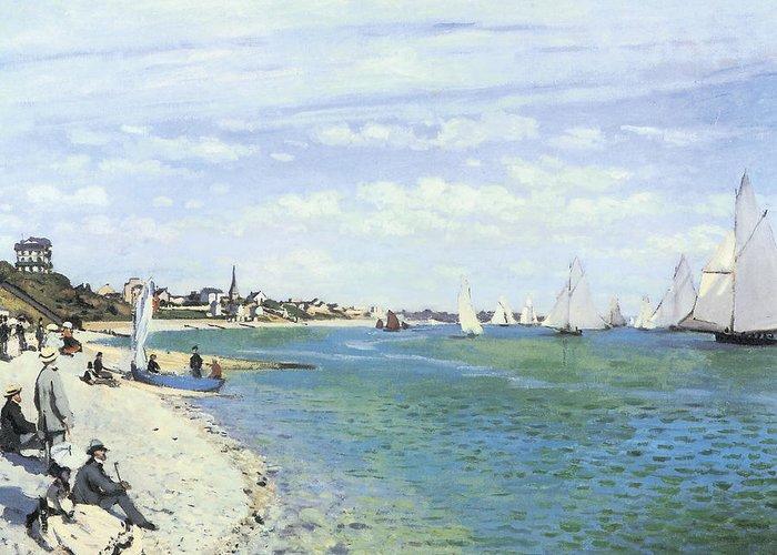 The Regatta At Sainte-adresse Greeting Card featuring the painting The Regatta At Sainte-adresse by Claude Monet